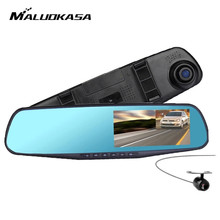 Wholesale Full HD 1080P Car DVR Camera Auto 4.3 Inch Rearview Mirror Digital Video Recorder Night Version Dual Lens Registratory Camcorder