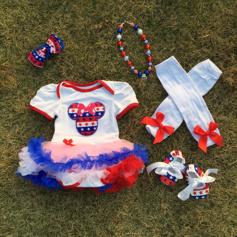 2018 hot sale baby Kids 4th of July romper Minnie pettidress Patriotic petticoat with accessories May Memorial day outfits