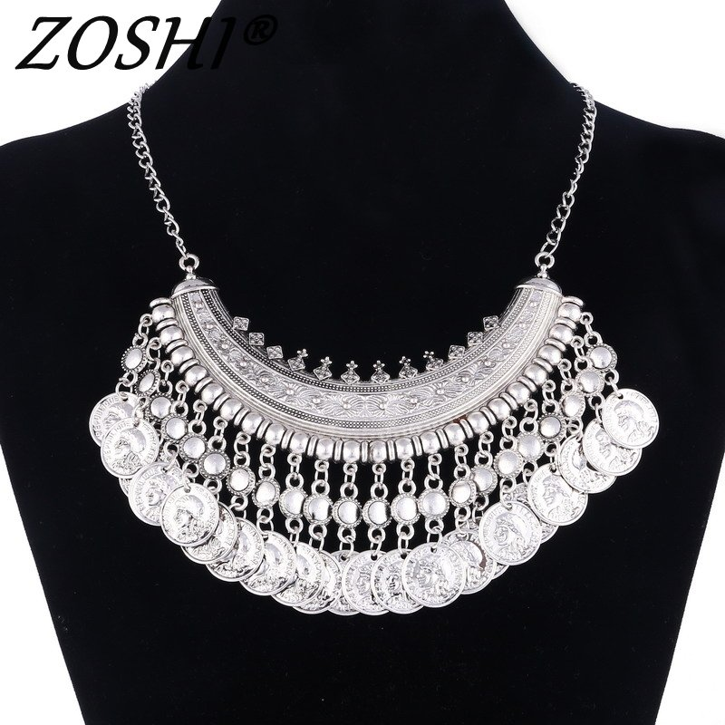 2604c2d112 Vintage Gold Silver Maxi Statement Necklaces & Pendants Women Bohemian Coin Necklace  Female Choker Collier Femme Bijoux Jewelry