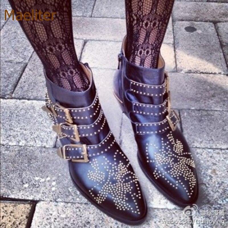 Bottines cloutées Chic européen bottines carrées à talons bas bottes courtes or argent Rivets ceinture boucle moto bottes gladiateur chaussures