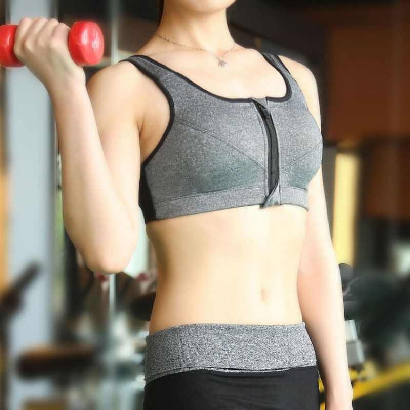Sujetador activo de moda con cremallera frontal para mujer, sujetador ajustable, con relleno, Push Up, Sujetador deportivo para mujer, ropa interior BH 2019