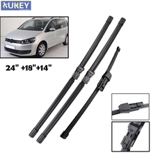 Xukey Front Rear Set Wiper Blades For VW Touran 2010 2011 2012 2013 2014 2015 2016 Natural Rubber Windshield Windscreen 3PCS/Set