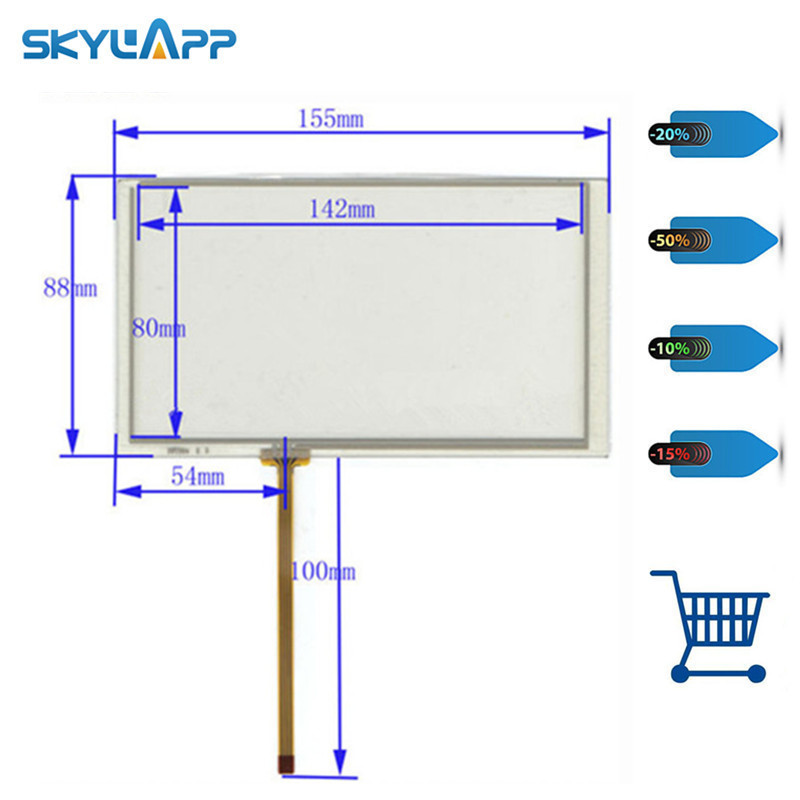 skylarpu 6.2 inch 4 wire Resistive Touch Screen 155*88mm 155mm*88mm Digitizer for Car navigation DVD Free shipping