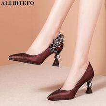 ALLBITEFO シープ革女性のハイヒールの靴ラインストーンファッションセクシーなハイヒールの女性のかかとの靴 chaussures ファム