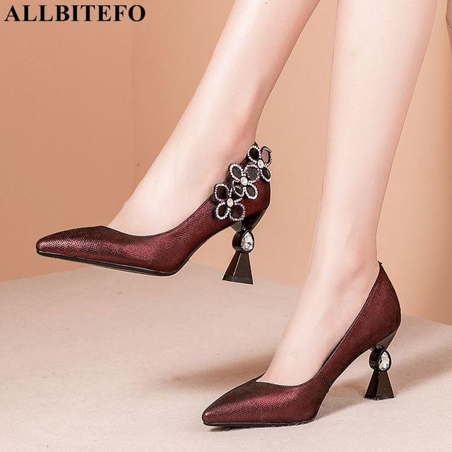 ALLBITEFO כבש אמיתי עור נשים גבוהה העקב נעלי יהלומים מלאכותיים אופנה סקסית גבוהה עקבים נשים עקבים נעלי chaussures femme