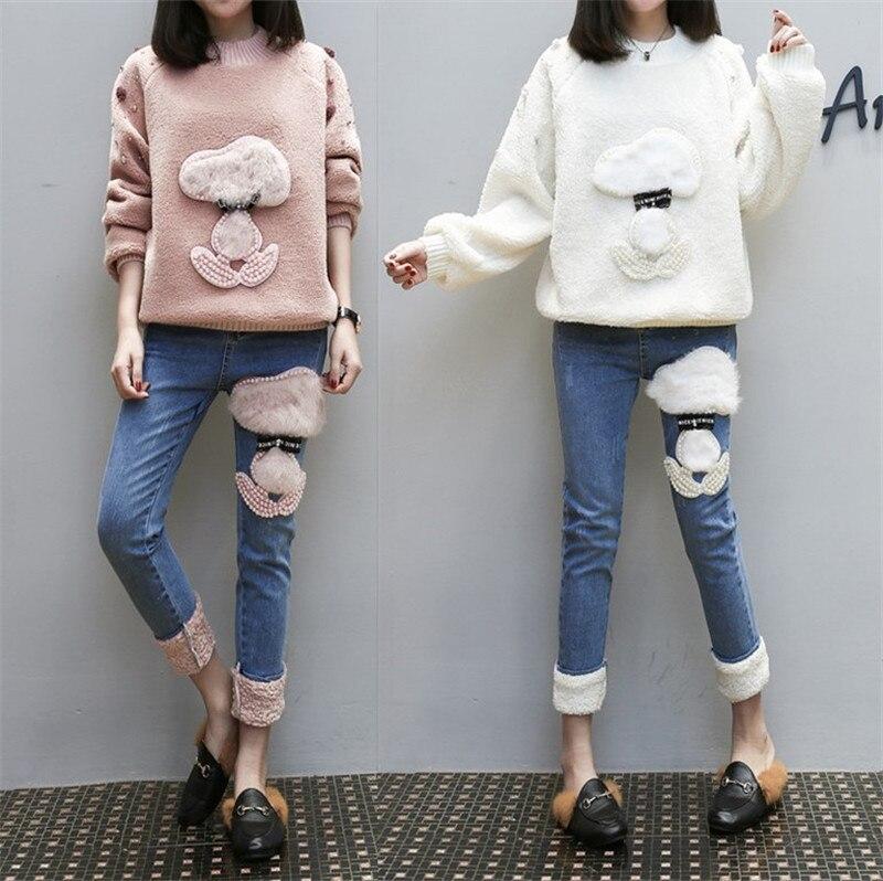 MUMUZI 2018 Spring Autumn high Waist Women straight   Jeans   Stretch blue denim Pants smart dogs Casual Denim sheepskin   jeans