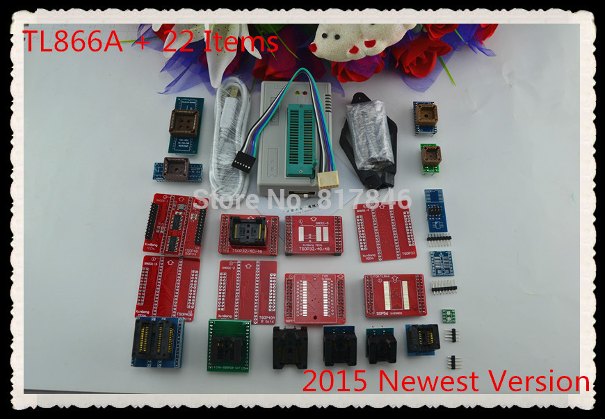 цена на Russian files V8.05 MiniPro 100% original TL866A Programmer USB Universal Programmer/Bios Programmer+22 pcs items+PLCC clip