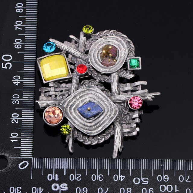 Multicolor Stone Scarf Clip Vintage Brooch