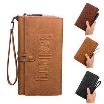 2019 New Luxury Fashion Men Wallets Long Purse Wallet Male Clutch Leather Zipper Wallet Men Business Male Wallet Coin Pouch фото