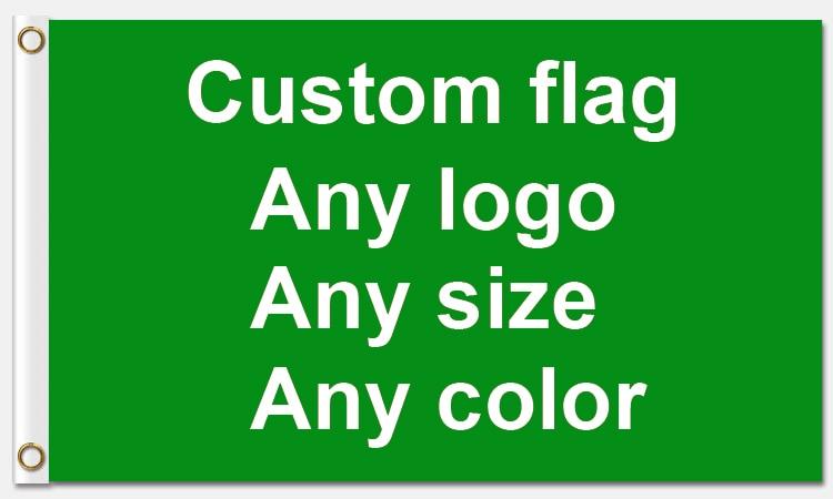 Bon Service 3x5ft drapeau personnalisé 90*150cm drapeau fait sur commande avec des œillets en métal à manches blanches