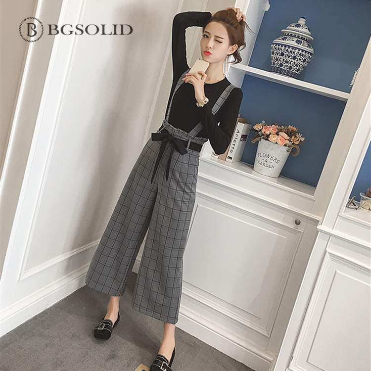 Spring/summer 2019 suspender pantsuit, slim long-sleeved T-shirt, retro British style, pants sets 1