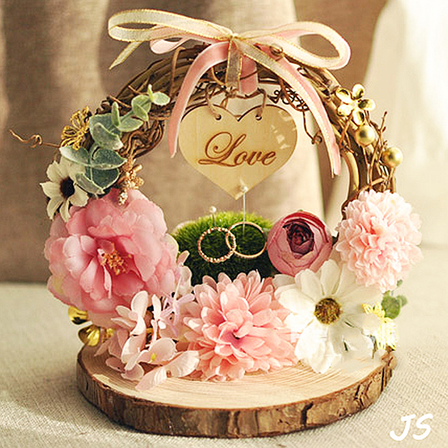 Free shipping 1pcs Rattan arch Pink flower Photo props engagement wedding decoration wedge pillow or marriage proposal good idea