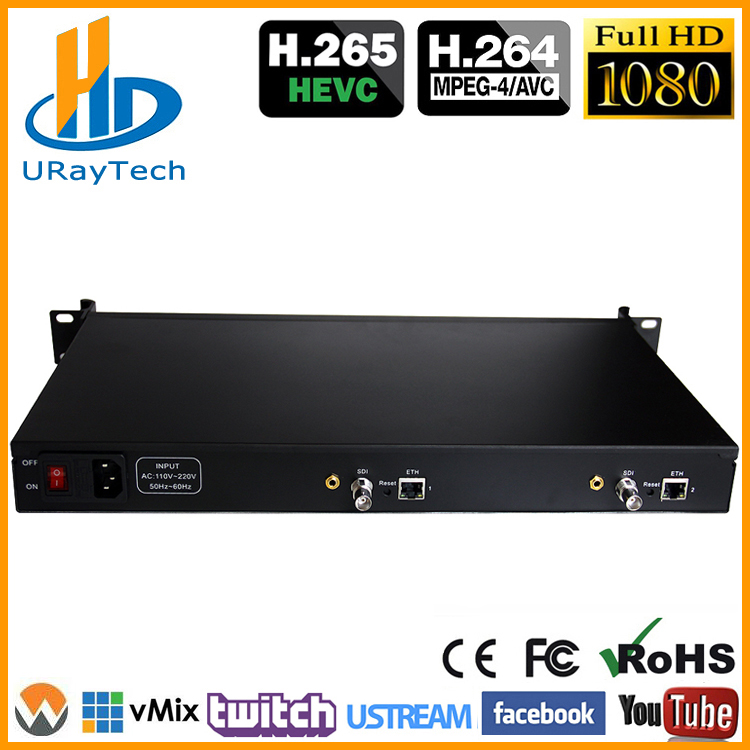 1U Rack HEVC H.265 SD HD 3G SDI à IP HD encodeur vidéo IPTV encodeur 2 canaux en direct RTMP encodeur SDI à H.264 H.265