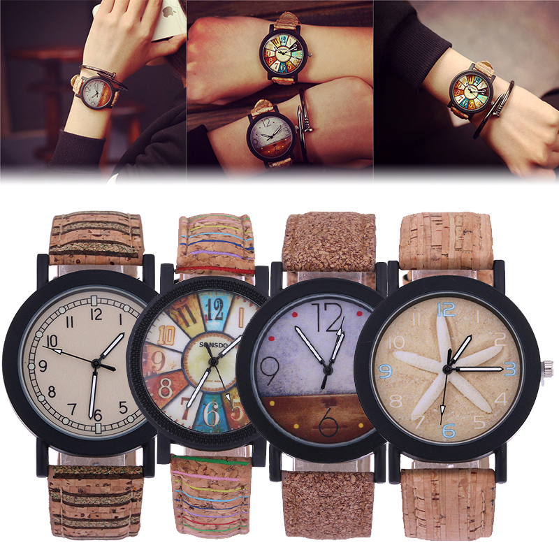 Top brand Men's Women Bamboo Wooden Simple Quartz Watch PU Leather Strap Wristwatch Starfish Colorful Turntable Hour Watch Gift simple casual wooden watch natural bamboo handmade wristwatch genuine leather band strap quartz watch men women gift page 4