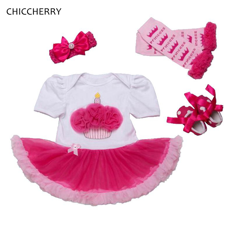 Ruffle Cupcake Baby Girl 1st Birthday Outfits Lace Romper Dress Headband Shoes Leg Warmers Newborn Tutu Sets Infant Clothing