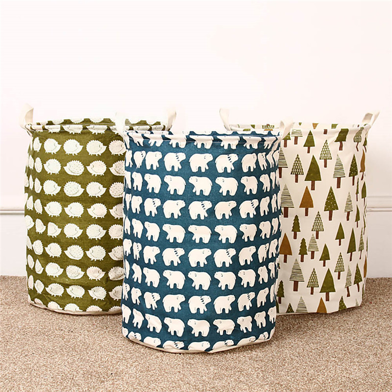 Lovely Foldable Cotton Linen Washing Clothes Storage Cleaning Laundry  Basket Toy Box Hamper Storage New(