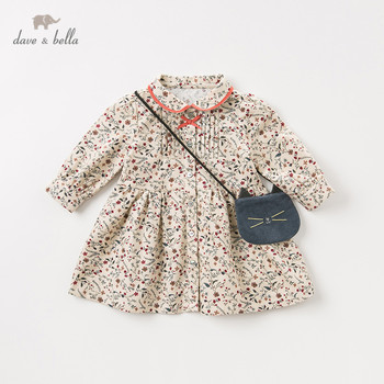 DB11553 dave bella autumn baby girl's princess cute bow floral dress with cat bag party dress kids infant lolita 2pcs clothes image