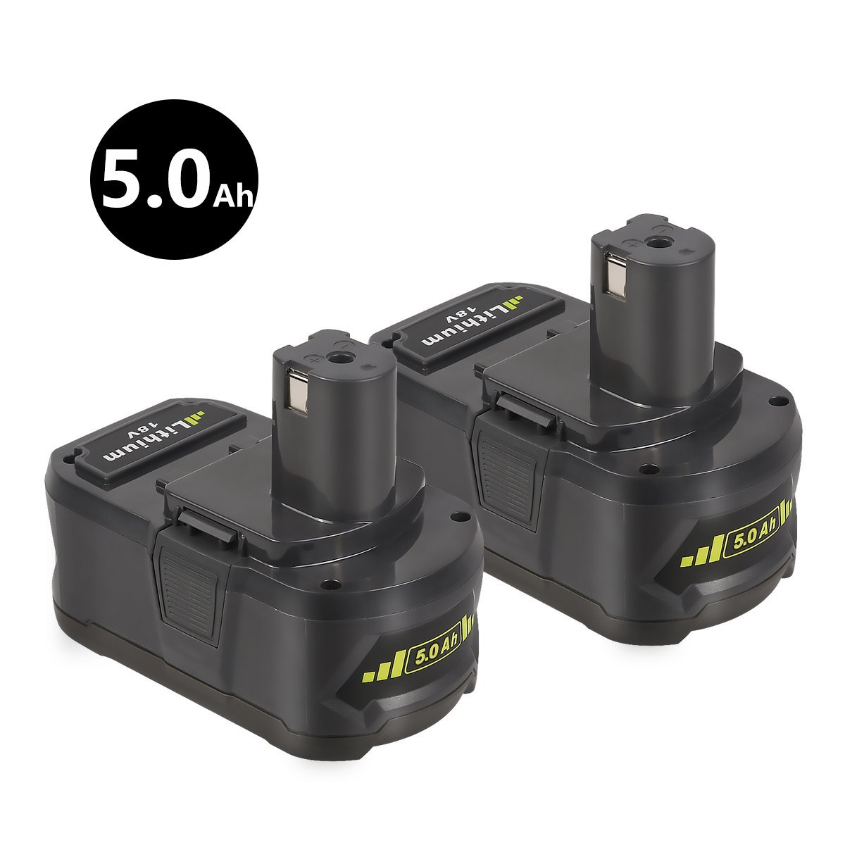 2 Pack New 18V 5.0Ah Replacement Power Tool Battery for Ryobi 18-Volt ONE+  P241, P246, P250, P2500, P2600, P2603, P271