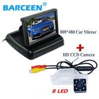 4.3 screen +waterproof +8 led car reversing camera +car rear monitor use for NISSAN QASHQA/ X TRAIL for Peugeot 307 Hatchback