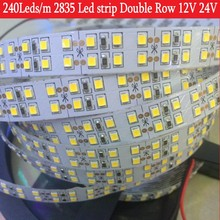 240LEDs/m LED Strip 2835 DC12V 24V 1200Leds Silicone Tube Waterproof Flexible LED Light Double Row SMD2835 LED Strip 5m/lot
