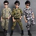 Новый 2016 Военный Камуфляж Девственную Костюм Мальчик Осень Одежда Дети Из Двух частей Набор детская Одежда
