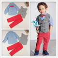 Gentlemen style Buys Fashion casual suit children clothing set 4 pcs set 2017 Spring New kids clothes set for 2-7 yrs