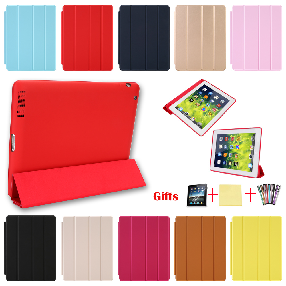 Case For iPad 2 3 4 Magnetic Leather Smart Cover for Apple iPad 4th Generation 3rd Generation 2 with Rubberized Back CaseCase For iPad 2 3 4 Magnetic Leather Smart Cover for Apple iPad 4th Generation 3rd Generation 2 with Rubberized Back Case