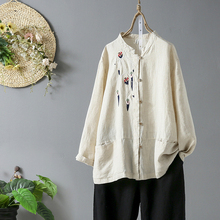 Summer Cotton Linen Shirt Women High End Casual Breathable Shirts Long Sleeve Solid Loose Leisure Retro Embroidery Shirts