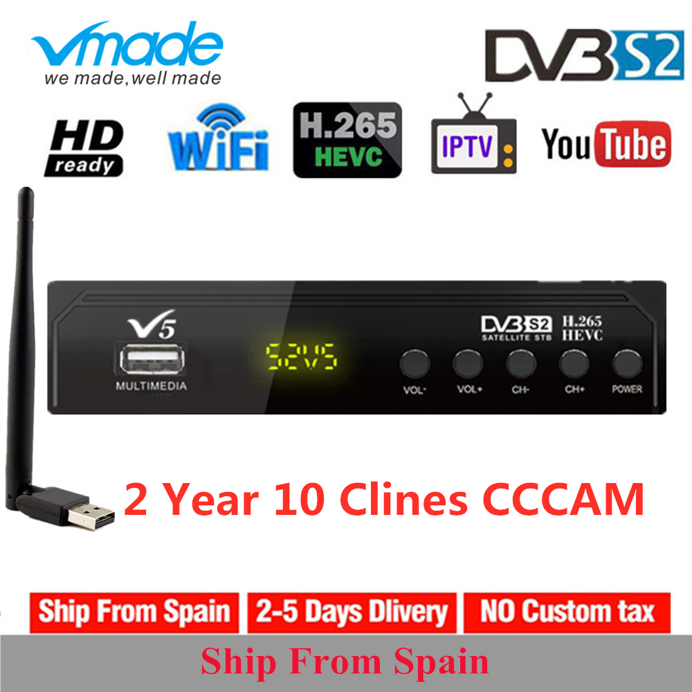 Original VMADE V5 HD DVB-S2 Digital Satellite Receiver H.265 AC3 Biss Key USB Wifi 3G NEWCAMD With 10 Clines Europe Spain Clines