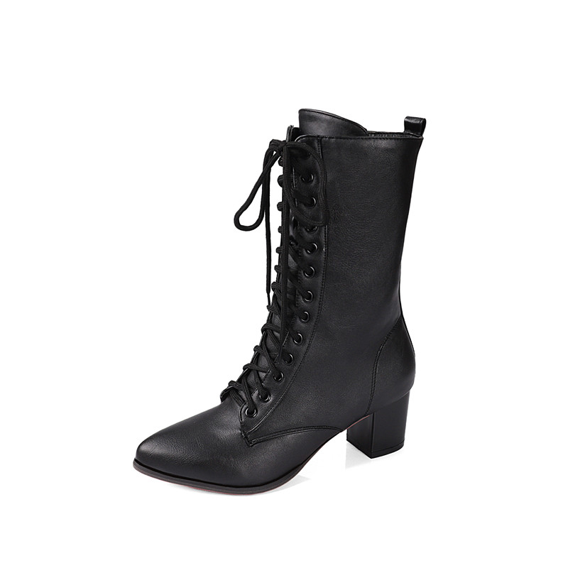 Image 5 - YMECHIC 2018 Street Rock Cross Lace Up Block High Heel Ankle Combat Boots for Women White Black Military Ladies Shoes WinterAnkle Boots   -