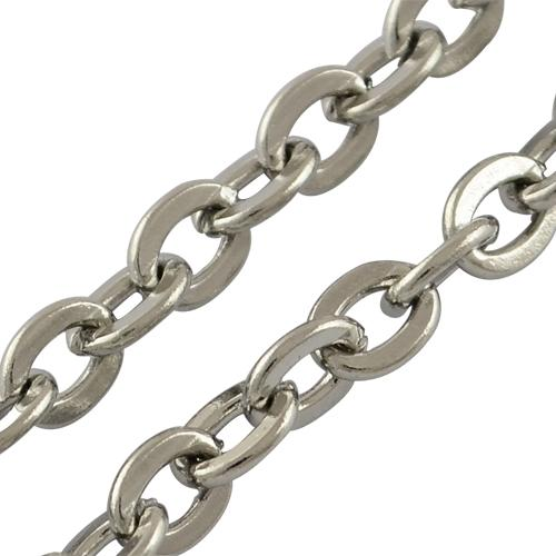 316 Stainless Steel Cross Chains, Rolo Chains, Stainless Steel Color, 3x2x0.5mm; 50m/roll