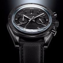 Reef Tiger/RT мужские дизайнерские часы с хронографом и нейлоновым ремешком, светящиеся спортивные часы, мужские черные часы пилота RGA3033