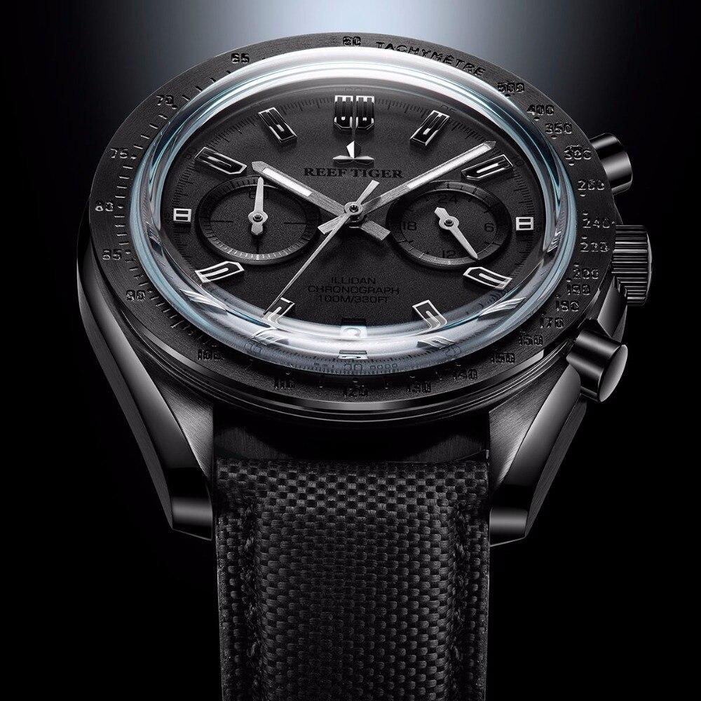 2019 récif tigre/RT hommes Designer chronographe montre avec Date Nylon bracelet lumineux Sport montre mâle noir pilote montre RGA3033