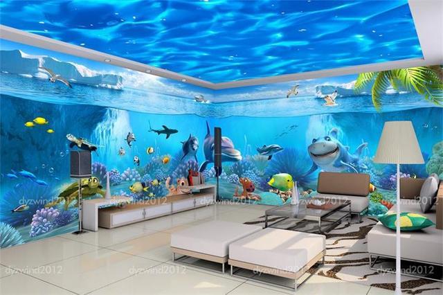 3d Room Wallpaper Custom Non Woven Murals Underwater World