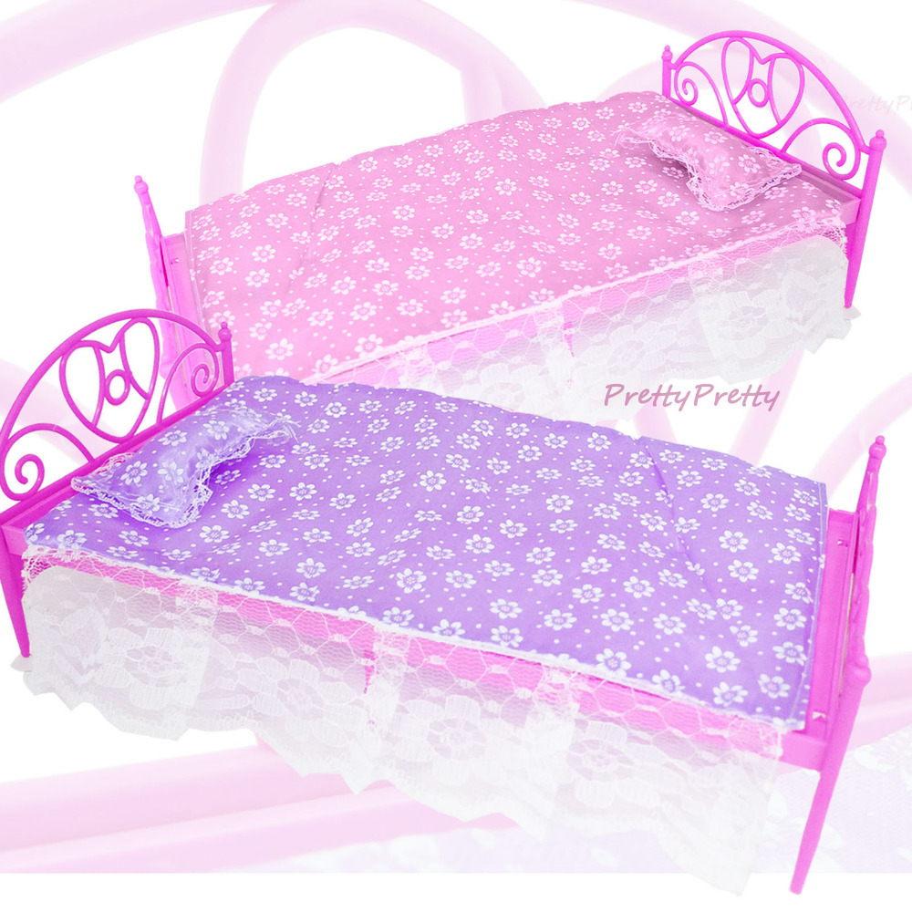 цены  Free Shipping Two Set  Doll Accessories Pink+ Purple  Mini Doll Bed Furniture  For Barbie Doll  House Baby Toys Hot Selling