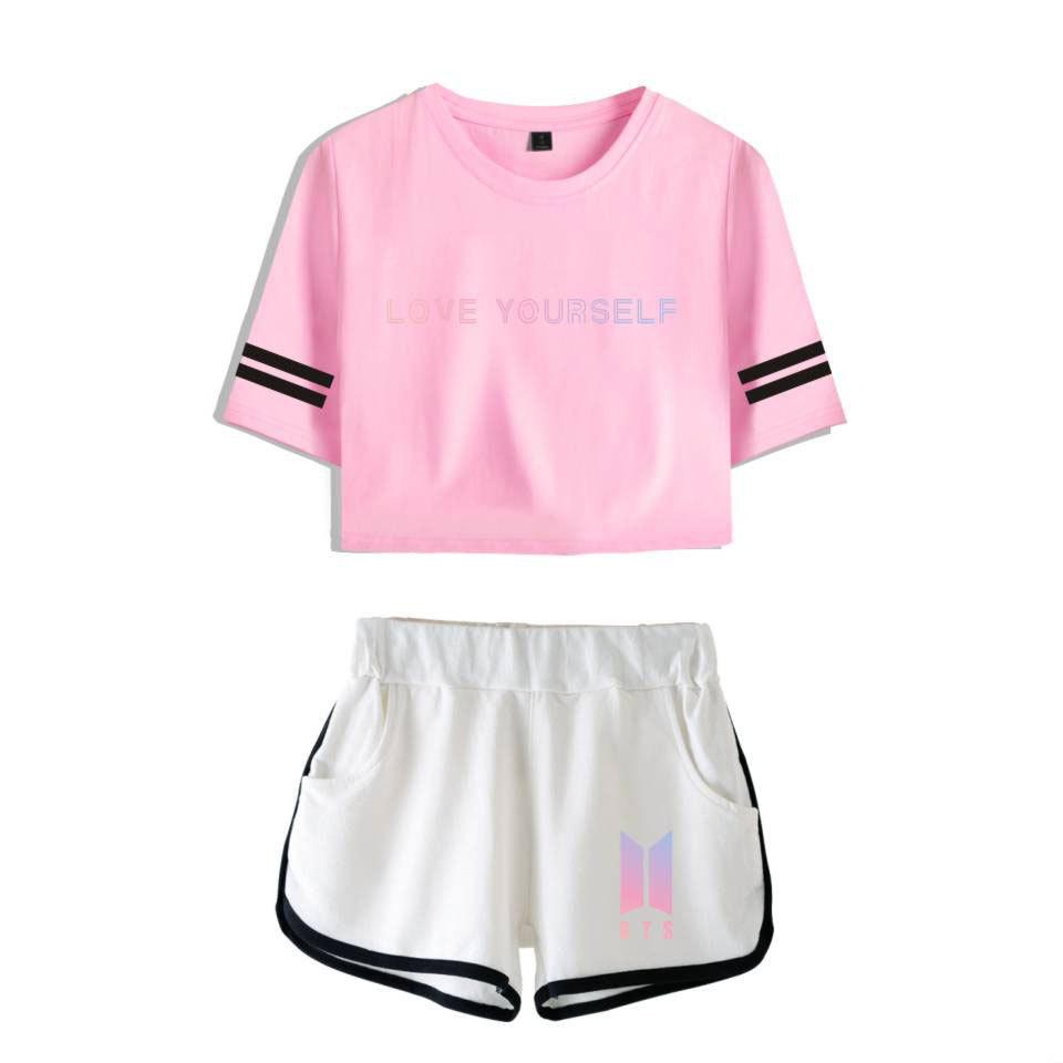 fd0fc65ffb81 BTS KPOP summer Dew navel Women Set Two sets 2018 New Cotton Korean version  Sportswear Star Purple shorts Short-sleeved T-shirt