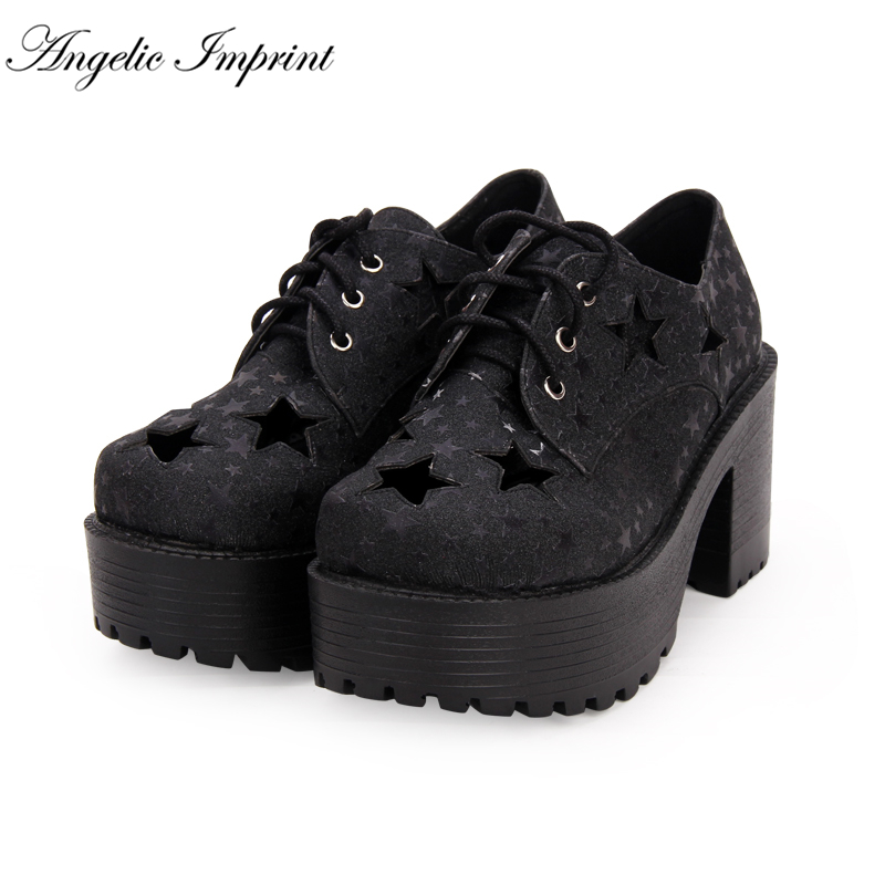 все цены на College Style Punk Cosplay Stars PU Leather Lace-up High Heels Thick Platform Shoes