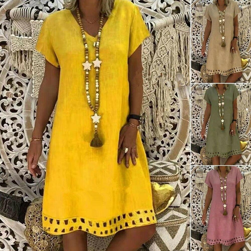 New Women Short Sleeve Dress Solid V Neck Summer Beach Cotton Linen Casual Kaftan Maxi Loose Tops Dresses Plus Size S-3XL