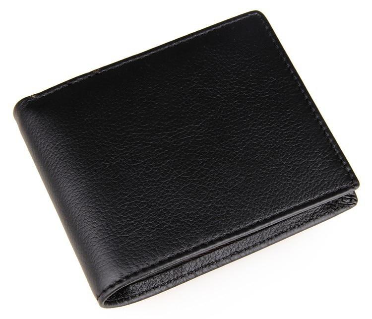 Vintage Genuine Leather Men Wallets Black Casual Cowhide Leather Male Purses Wallet Short Bifold Credit Card