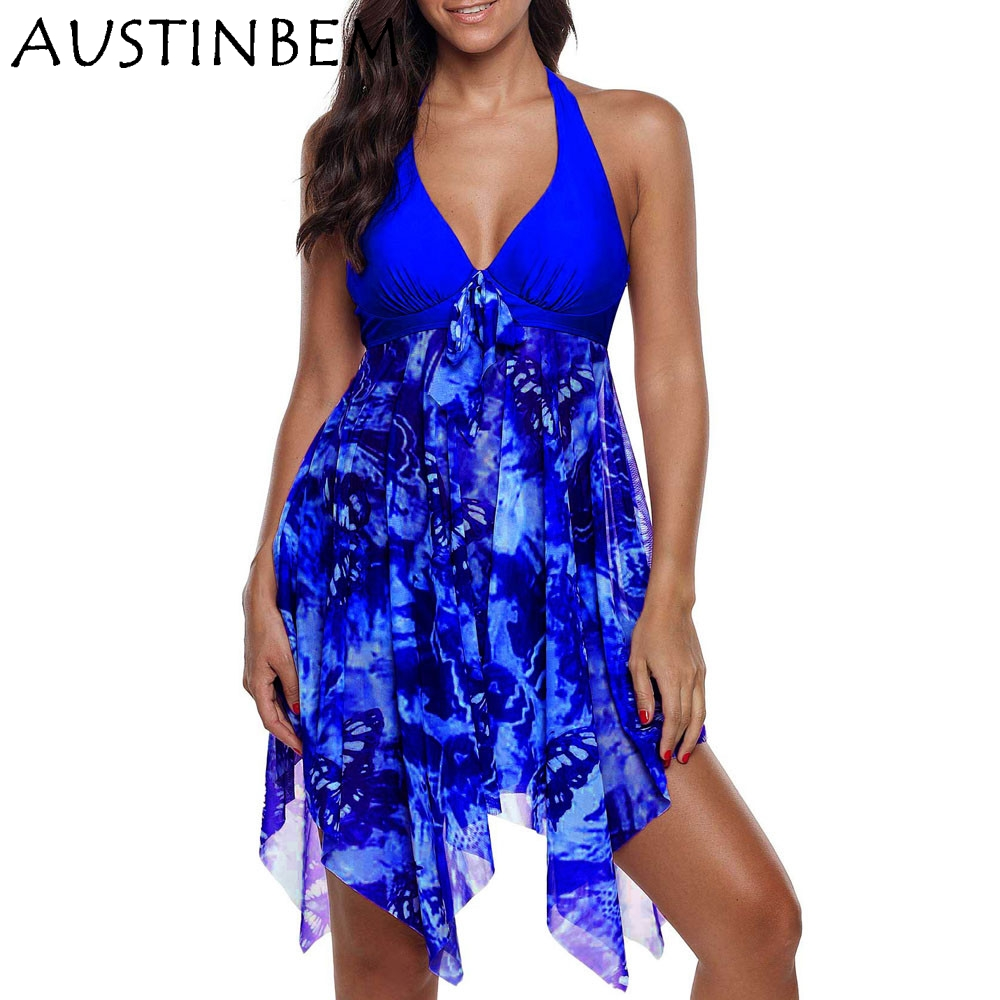 AUSTINBEM 2019 New Plus Size Tankini Women Swimwear Two Piece Bathing Swimdress Beach Wear Swim Maillot De Bain Female S-5XL