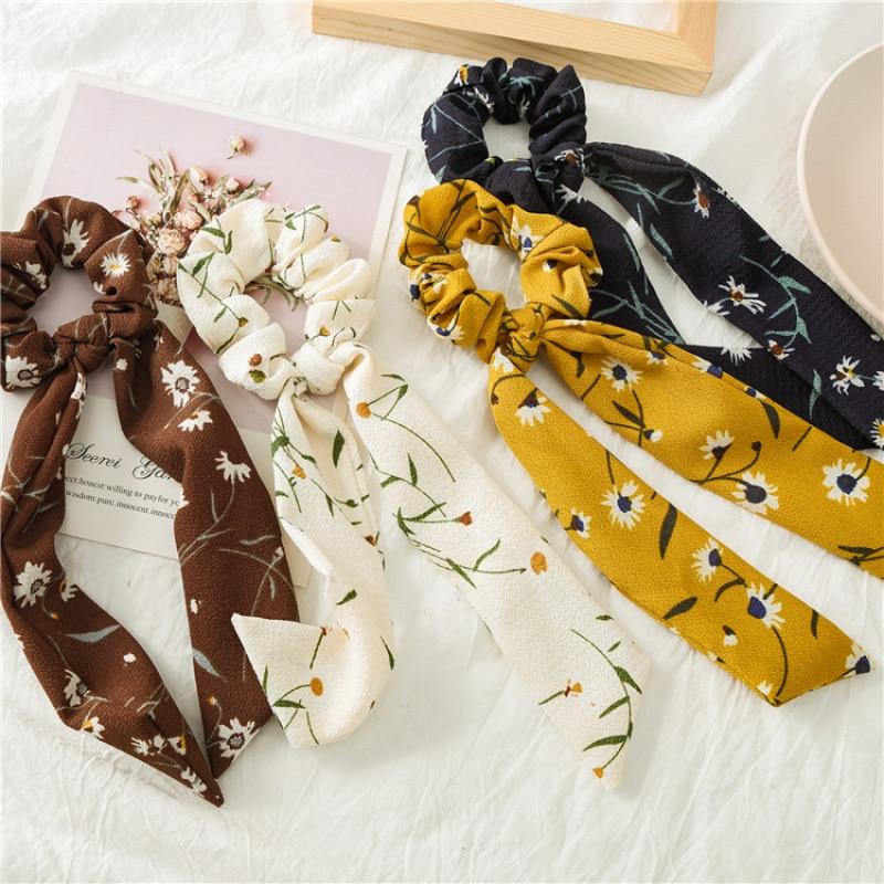Women Chiffon Prints Ribbon Hair Band Summer Hair Rope Hairpins Cute Barrette Bow Fashion Hair Accessories Hair Ring