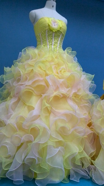 84b3b3ab3 New Gold Yellow Quinceanear Dresses 100% Real Photos Cascading Ruffles  Crystal Beads Organza Costumes Formal Ball Gown E2016892