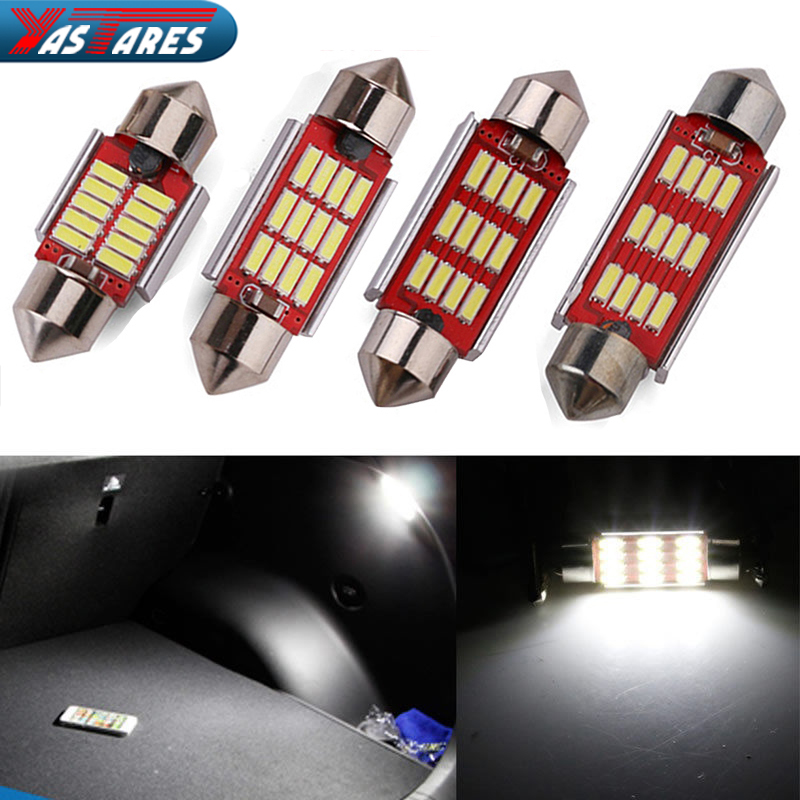 2PC 31mm 36mm 39mm 41mm C5W C10W CANBUS NO Error Auto Festoon Light 12 SMD 4014 LED Car Interior Dome Lamp Reading Bulb DC 12V