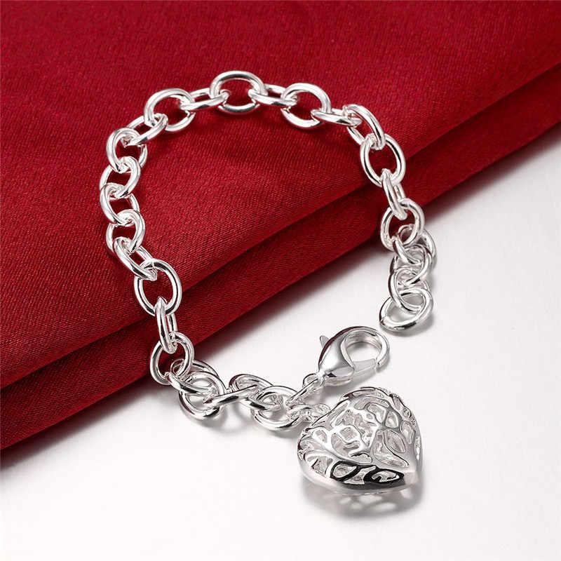 Silber 925 Armbänder für Frauen Herz Anhänger Charm Armband 8 inch Link Ketten Pulsera Feminina Bijoux Weihnachten Geschenke
