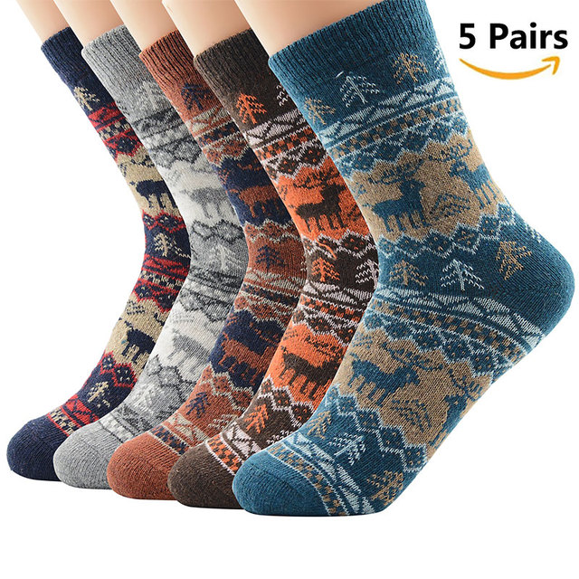 High Quality 5 Pairs Men Women Warm Winter Socks Soft Cashmere Warm Socks Rabbit Wool Socks Winter Thermal Socks Wool Breathable