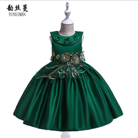 Elegant Baby Girls Dress Princess Costume Floral Flower Embroidery Green Red Party Dresses Kids Clothing for 3 to 10 Years 6L14A