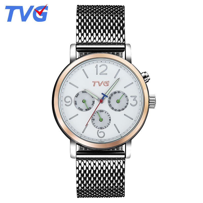 2016 TVG Brand Male Quartz watches Men Fashion Casual stainless steel waterproof Analog wristwatch Business Quartz