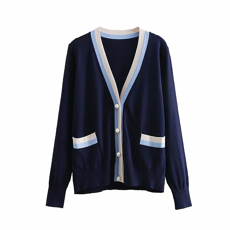 Fashion Pearl Button Women Cardigan Thin Spring Sweaters Knitted Female Patchwork Sweater Coat Knitted Jacket Wool Sweaters