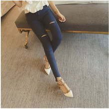 2016 весной Новый Южная Корея самосовершенствование зацепил нерегулярные рисунок джинсовые узкие брюки женские