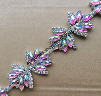 1 yard/lot popular butterfly-tie pink AB crystal rhinestone silver chain cute stone shoes trimming for dress garment decoration